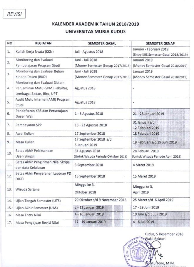 Kalender Akademik UMK TA.2018/2019 rev2018-12